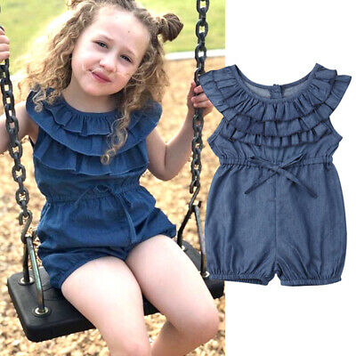 Toddler Kids Girls Ruffle Denim Romper Pants Summer Jumpsuit Outfits Clothes