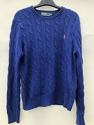 Polo Ralph Lauren Cable Knit Jumper Ultra Blue With Logo Mens Small VGC 109