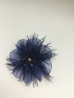 Wedding Flower Girls Ladies Navy Blue Flower Hair Clip Fascinator Navy Feathers