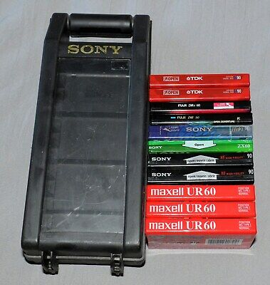 Vintage Sony Portable Cassette Holder 11 Slots with 11 New Sealed Audio Tapes