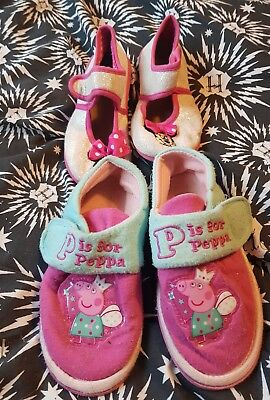 GIRLS Two Pairs Slippers Bundle Size 9 Peppa Pig Minnie Mouse