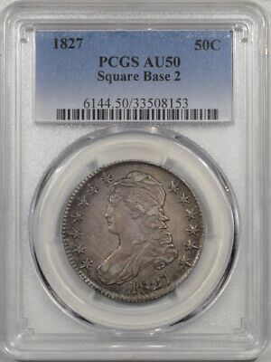 1827 Capped Bust Half Dollar - Square Base 2 Pcgs Au-50
