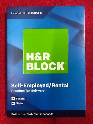 H&R BLOCK Tax Software Premium 19 2019 State Self-Employed/Rental CD and Digital