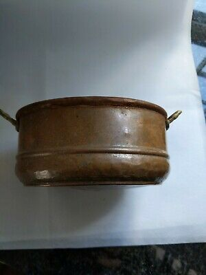 """Vtg Antique Hand Made Double Handle 7"""" Distressed Copper Planter Box"""