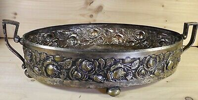 Jugendstil Obstschale Unterteil Messing versilbert Schale fruit bowl Blumen Art