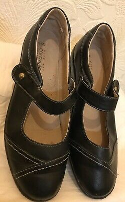 CARAVELLE Black Leather Lined Mary Jane Comfort Shoes Size 9/42 Wide Fit