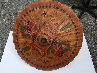 Vintage Chinese Handcrafted Parasol Bamboo & Rice Paper Dragons And Birds