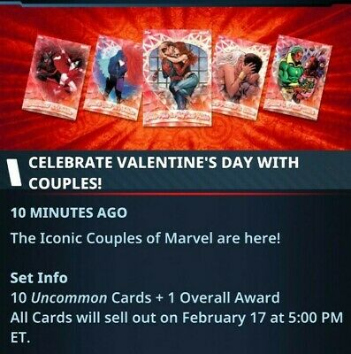 Topps Marvel Collect Card Trader Valentines Day Iconic Couples  Set with Award