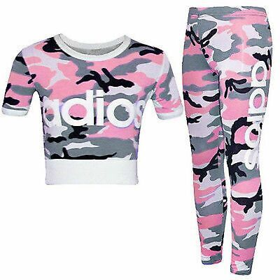 Girls Adios Pink Camo Camouflage Outfit Crop top Tracksuit legging jog top jogge