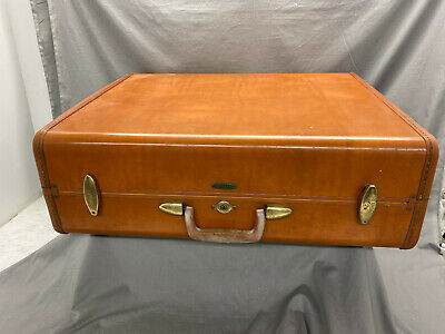 "Vintage Samsonite Leather Hard Shell Luggage 24"" Suitcase"