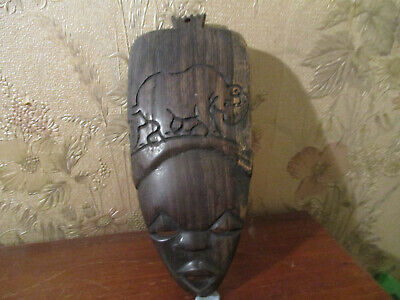 Vintage Authentic African/ORIENTAL tribal Wood Hand Carving Sculpture/mask '