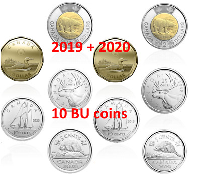 Pre-Sale! 2020 + 2019 CANADA circulation sets (10 coins) BU UNC FIRST STRIKES