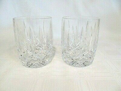"""2 Gorham Crystal Lady Anne 4"""" Double Old Fashioned / Whiskey Glasses Criss Cross"""