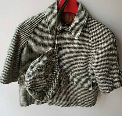 vintage Sears Roebuck little boys coat & hat,Tan/Hunter Green tweed wool size 3T