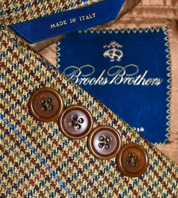54R Brooks Brothers Made ITALY Brown Tan Plaid PORTLY Sport Coat Blazer Jacket
