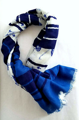 White & Blue Lightweight Scarf w/Floral & Striped Design
