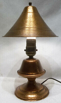 Small Antique Arts & Crafts Hammered Copper Table Lamp W/ Shade VERY NICE!