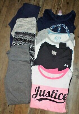 Lot Girls Size 10/12 Justice Pink Republic Leggings Long Sleeve Shirts 8 Items