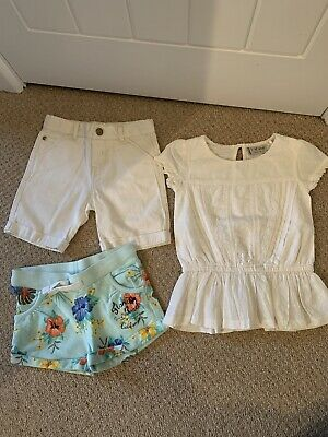 Girls Age 2 To 3 Bundle. Two Pairs Of Shorts. 1x White Little Bird Top VGC