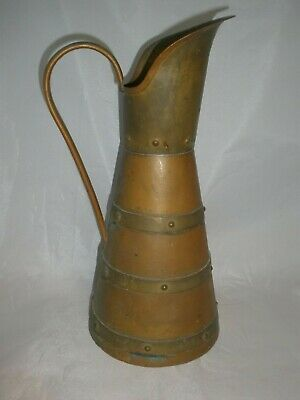 Hammered Copper and Brass Arts and Crafts Pitcher by Hector Aguilar Taxco
