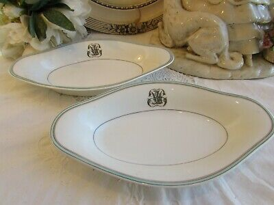 Antique French Pair Of Fine Porcelain Monogrammed 'Raviers' Side Plates, Dishes