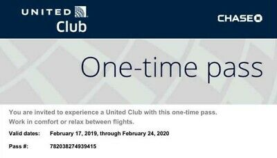 Two (2) UNITED CLUB One time passes - Expires 2/24/2020