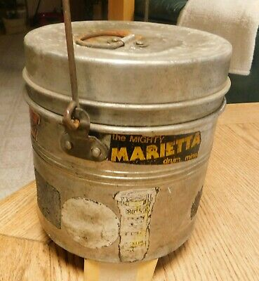 Antique Coal Miners; Lunch Pail, Bucket, Wood Handle, Decals on the Sides.