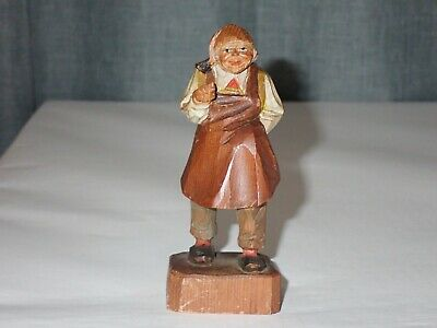 "4"" Antique Swiss Black Forest Wood Carving Shopkeeper"