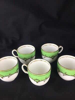 Job Lot Of Green White Gilded Tea Coffee Cups Antique