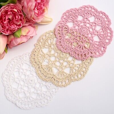 Crochet doilies pink 14-15cm for millinery and crafts