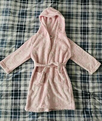 Girls Store Twenty One Dressing Gown Age 5-6 Years. Pink, White, Hearts, Fluffy.