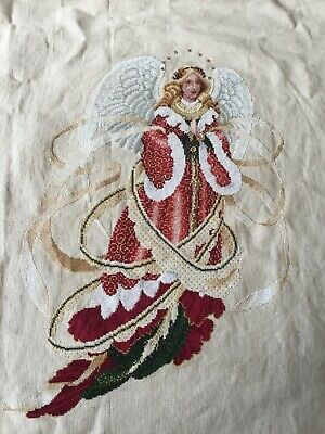 COMPLETED Finished Counted Cross Stitch Lavender & Lace Angel of Christmas