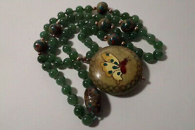 Antique Chinese Jade And Cloisonne Butterfly Pendant Necklace