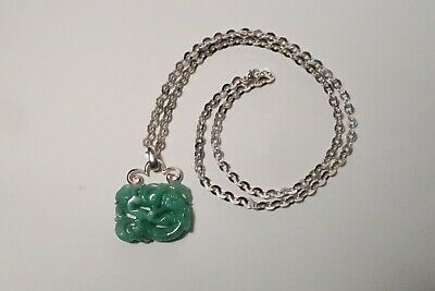 Vintage Green Chinese Jade Carved Dragon And Silver Pendant With Silver Chain