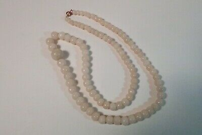Antique Chinese Nephrite Opaque White Jade Mutton Fat Bead Necklace