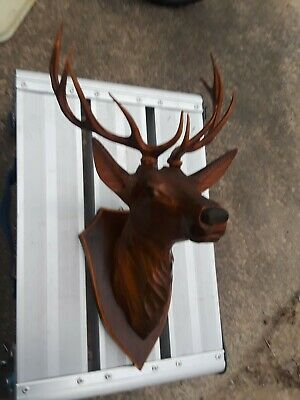 Antique Hand Carved Wood Deer Stag Head Black Forest German Anri ~Nice Detail!