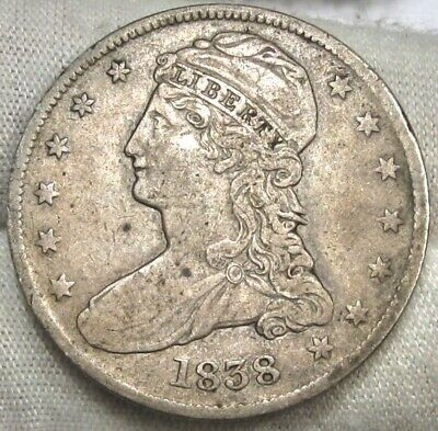 1838 Capped Bust Half Dollar In VF Condition $170 Value