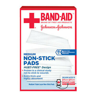 "J&J 1 BX/5 EA 116627 Band-Aid First Aid Nonstick Gauze Pad, Medium, 3.5"" x CHOP"