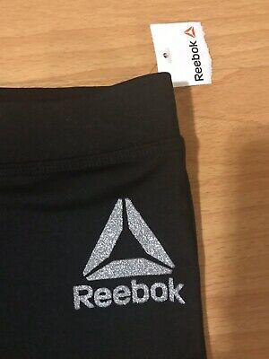 New With Tags REEBOK Black Spandex Active Leggings Pants - Girls Size 8