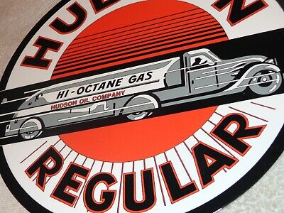 "Vintage ""Hudson Regular Gasoline"" Tanker Truck 11 3/4"" Porcelain Metal Oil Sign!"