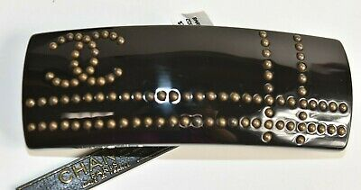 NEW authentic in BOX bag Chanel Studded Hair Barrette Jeweled Black CC Logo