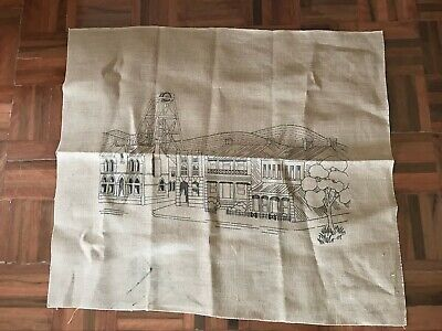 Vintage unused large natural tapestry embroidery canvas country town Australiana