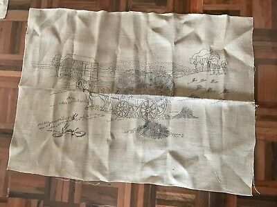 Vintage unused large natural tapestry embroidery canvas farm horse hay country