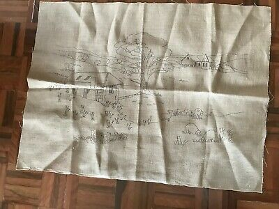Vintage unused large natural tapestry embroidery canvas country houses bush aus