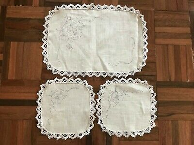 VTG lace edge unused stamped linen duchess set doilies poppy floral to embroider