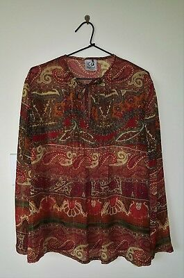 STEPHANCRAFT CREATIONS Maternity Top Pin-tucking Paisley Design Gold Thread 16
