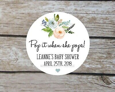 24 Welcome Baby Floral Sticker Ready to Pop Baby Shower Personalised Stickers