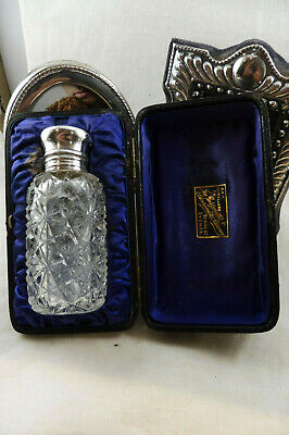 Antique Victorian Cased Crystal Perfume with HMSS Collar & Top : Birmingham 1894