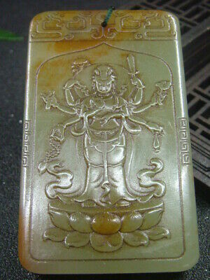 "Chinese Antique Celadon Nephrite Hetian-Jade Statues/Pendant""Thousand-hand Bodhi"