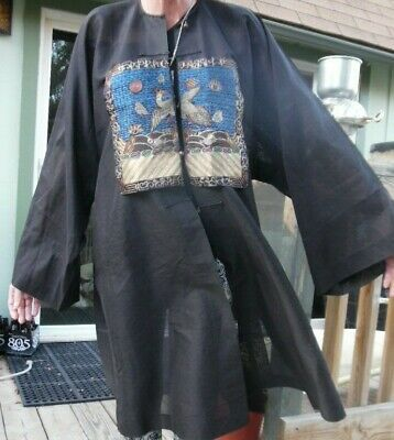 Antique 19th Century Hand Embroidered Unusual Fine Chinese Robe Jacket large